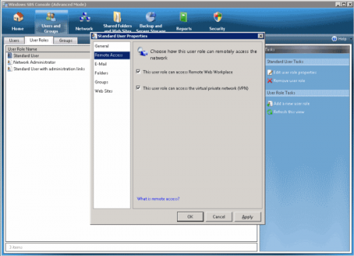 SBS 2008 Console Edit Role Enable VPN
